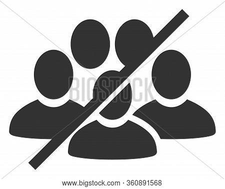 Raster No People Crowd Flat Icon. Raster Pictograph Style Is A Flat Symbol No People Crowd Icon On A