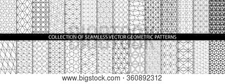 Collection Of Geometric Seamless Patterns. Abstract Geometric Hexagonal Textures. Seamless Vector Mo