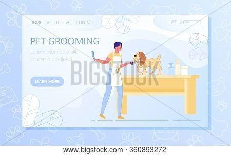 Flat Banner Professional Powerful Pet Grooming. Female Groomer Caring For Dog And Smiling. Thoroughb