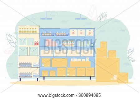 Pharmaceutical Storehouse Interior Vector Illustration. Cardboard Package Box Stockpile, Rack With P