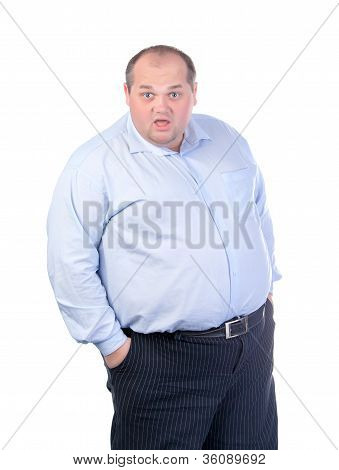 Fat Man in a Blue Shirt Contorts Antics