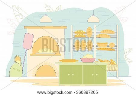 Baking Bread Family Business Production Flat Cartoon Vector Illustration. Bread Machinery Production
