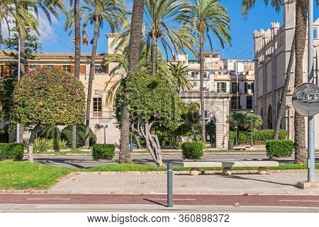 Shore Road Avinguda De Gabriel Roca Commonly Known As Paseo Marítimo With The Historic Gothic Buildi
