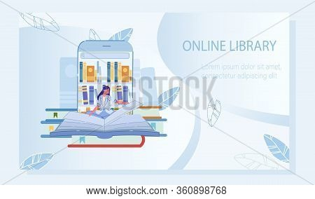 Young Woman Enjoy Education Via E-library Mobile Application. Poster Advertising Electronic Service