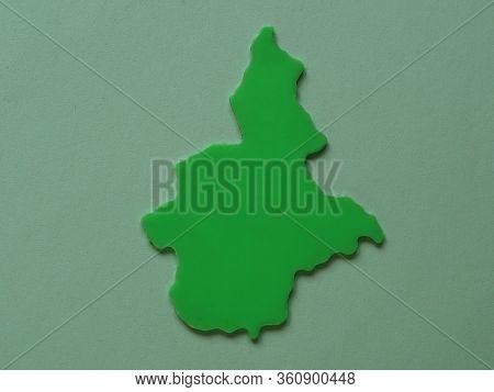 Italian Piemonte (piedmont) Region As A Plastic Shape