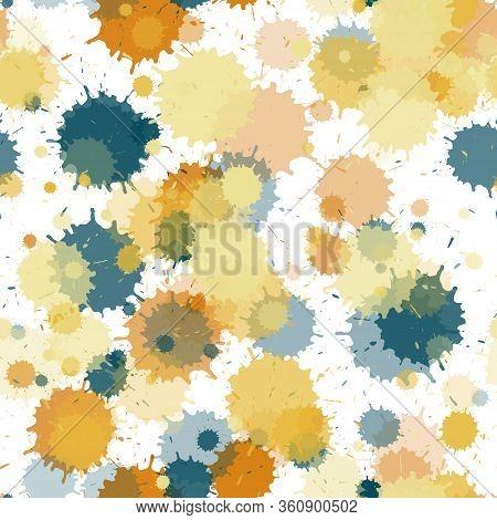Watercolor Paint Transparent Stains Vector Seamless Grunge Background. Decorative Ink Splatter, Spra