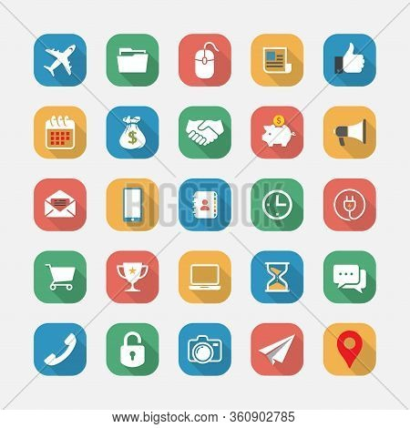 Modern Icons Set In Vector Flat Design, Set Of High Quality Vector Flat Icons, Long Shadow Flat Icon