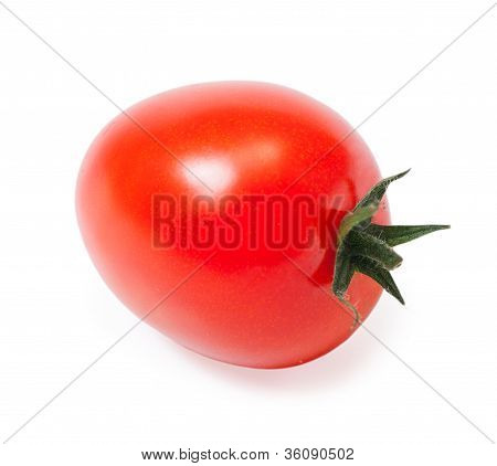 Single Cherry Tomato Isolated On White Background