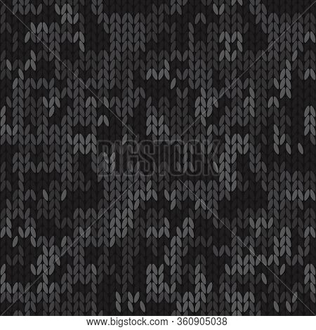 Knitted Camouflage Seamless Pattern. Woolen Black Knitted Texture. Vector Background
