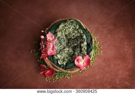 Newborn Photography Digital Background Prop. Wicker Basket With Green Fur And Flowers On A Painted C