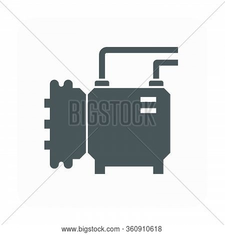Air Compressor Part Of Air Conditioner System Icon Design.