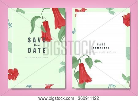 Botanical Wedding Invitation Card Template Design, Red Lapageria Rosea Flowers And Leaves On Green B