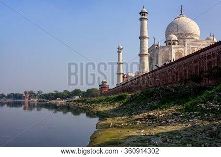 View Of Taj Mahal From Yamuna River, Agra, Uttar Pradesh, India. Taj Mahal Was Designated As A Unesc