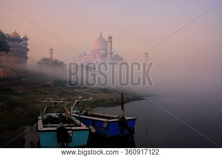 Boats Anchored On Yamuna River Near Taj Mahal In Early Morning, Agra, Uttar Pradesh, India. Taj Maha