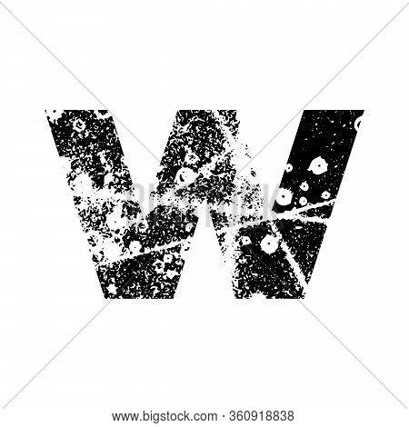 Painted Letter W. Grunge Alphabet Font. Abstract Handmade Sans Serif Typeface. Distress Textured Abc