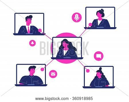 Stay Home Work Process, Video Conference, Video Call With The Team Members. Vector Flat Design Illus