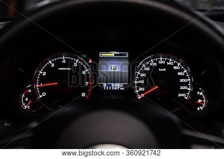 Novosibirsk/ Russia - February 23, 2020: Subaru Outback, Round Speedometer, Odometer With A Range Of