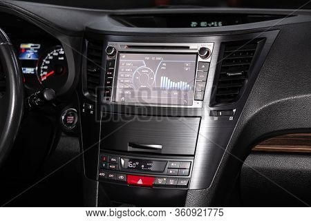 Novosibirsk/ Russia - February 23, 2020: Subaru Outback, Close-up Of The Central Control Panel, Moni