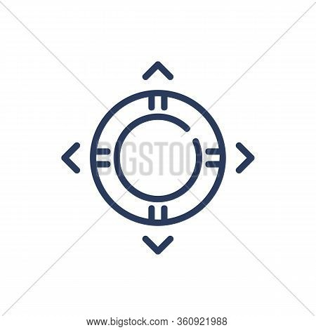 Flotation Ring Thin Line Icon. Top View Of Life Preserver Isolated Outline Sign. Life Buoy And Insur