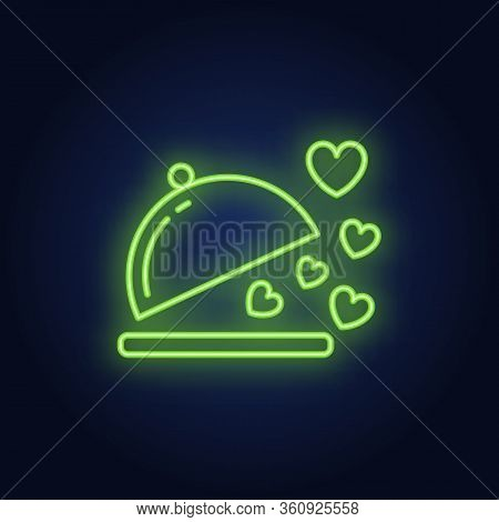Love Dish Neon Sign. Dish For Romantic Dinner On Brick Wall Background. Vector Illustration Can Be U