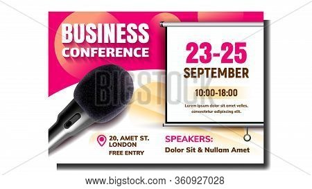 Business Conference Advertising Poster Vector. Modern Microphone Pop Filter And Speakers Names, Conf