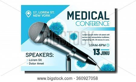 Medical Conference Creative Promo Banner Vector. Modern Microphone And Unhealthy Virus Microbe, Spea