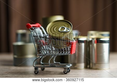 Canned Food In Shopping Cart Toy With Group Of Aluminium Canned Food.