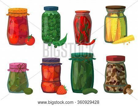 Pickled Vegetables Isolated Cartoon Set Icon. Vector Cartoon Set Icon Preserve Fruit. Vector Illustr