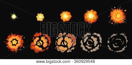 Explosion Process Isolated Cartoon Set Icon. Vector Illustration Effect Explode On White Background.