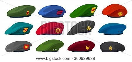 Military Beret Isolated Cartoon Set Icon. Vector Illustration Army Cap On White Background.cartoon S