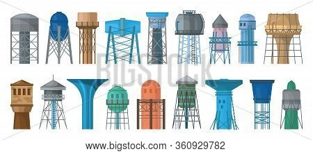 Water Tower Vector Cartoon Set Icon. Vector Illustration Tank Reservoir On White Background. Isolate