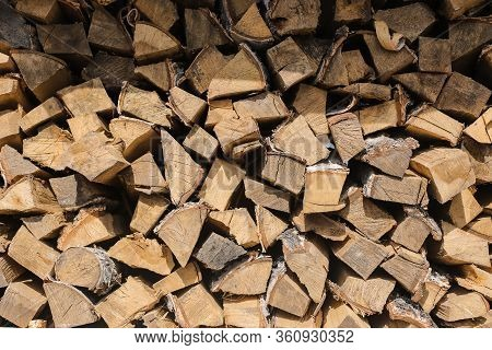 A Pile Of Firewood. Preparation Of Firewood The Winter And Use For Cooking, Preparation Of Firewood,