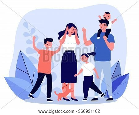 Tired Young Parents And Mischievous Happy Children Flat Vector Illustration. Exhausted Mother And Fa
