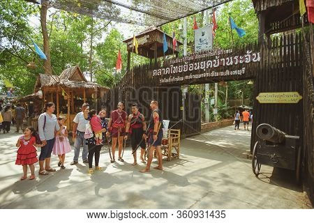 Sing Buri, Thailand - November 17, 2019 : Thai Antique Dressing At Bang Rachan Old Market, Sing Buri