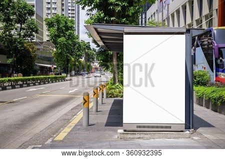 Digital Media Blank Mock Up Advertising Billboard In The Bus Stop, Blank Billboards Public Commercia