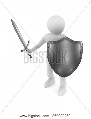 man with sword and shield on white background. Isolated 3D illustration