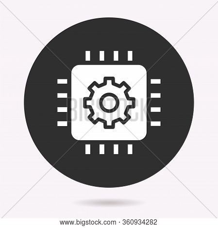Microprocessor - Vector Icon. Illustration Isolated. Simple Pictogram.