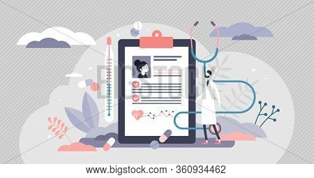 Ehr Or Electronic Health Record Vector Illustration In Flat Tiny Persons Concept. Abstract Tablet Wi
