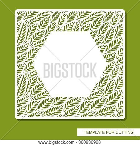 Vector Openwork Square Frame With Leaves. Copy Space. Design Element, Sample Panel For Plotter Cutti