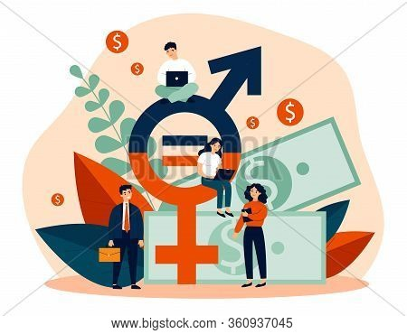 Employees Gender Salary Equality. Business People With Laptop Working At Cash And Equal Sign. Vector