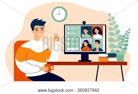 Worker Using Computer For Collective Virtual Meeting And Group Video Conference. Man At Desktop Chat