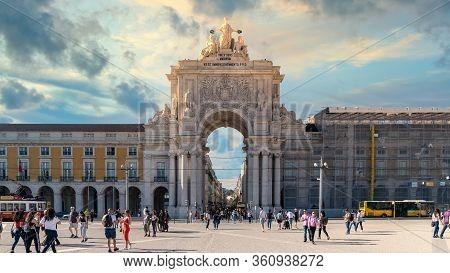Lisbon, Portugal - November 2019: The Triumphal Rua Augusta Arch, Arco Triunfal Da Rua Augusta At Li