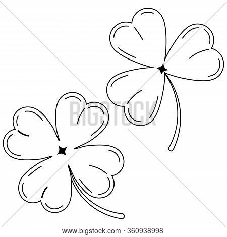 Clover Leaves Black Silhouette Icon Set Isolated On White Background Lucky Four Leaf Clover And Sham