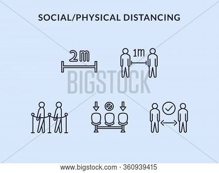 Physical Distancing Or Social Distance Icon Set Collection Vector