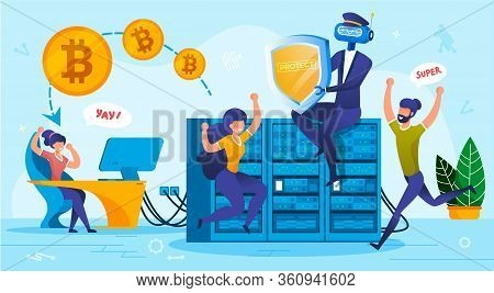 Financial Bitcoin Cloud Storage System Security. Innovative Digital Technology From Hacking, Cyber C