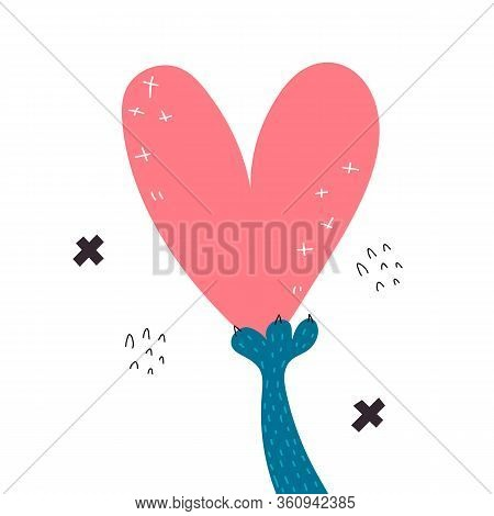 Love And Compassion. Cartoon Paw Holding Heart Isolated On White Background. Colorful Vector Illustr