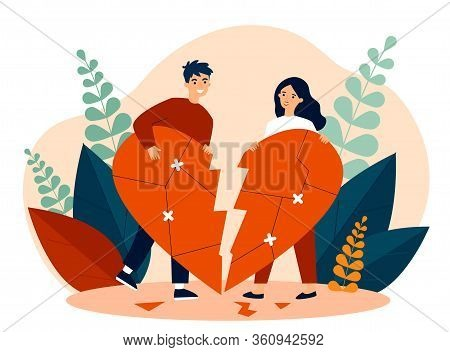 Smiling Couple Restoring Broken Heart Flat Vector Illustration. Happy Man And Woman Solving Problems