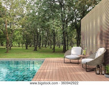 Swimming Pool Terrace With Garden View 3d Render,  There Are A Wooden Floor ,green Tile In The Swimm