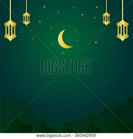 A Luxurious And Magnificent Islamic Background. Instagram Feed Stock Vector Design. Social Media Ban