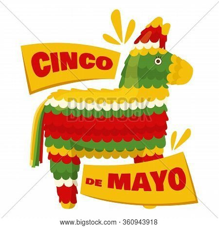Cinco De Mayo - Mexican Traditional Fiesta, Badge With Donkey Pinata. Vector